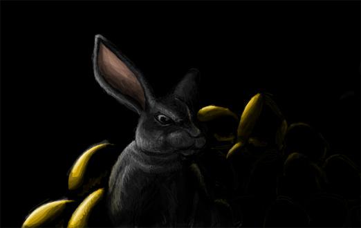 A bunny guarding its horde