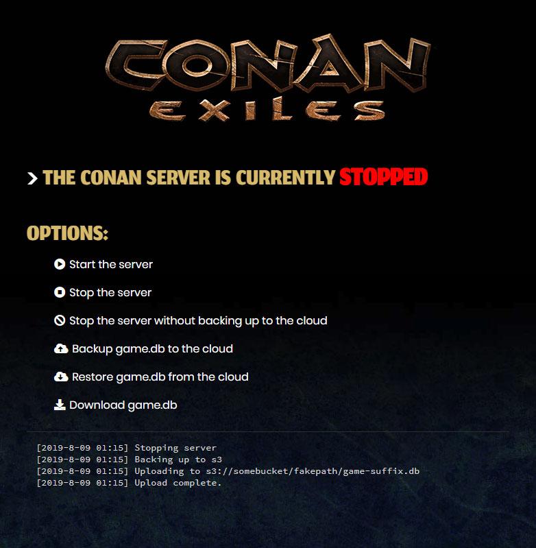 Conan server control page